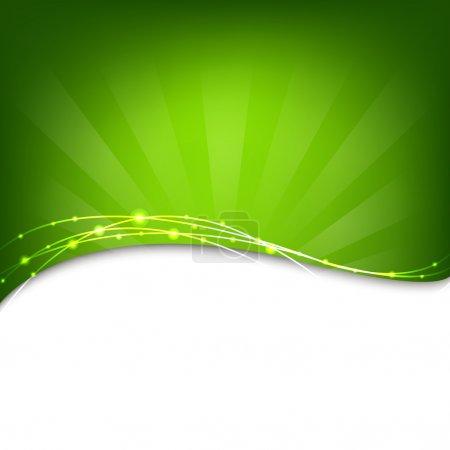 Illustration for Green Background With Sunburst, Vector Illustration - Royalty Free Image