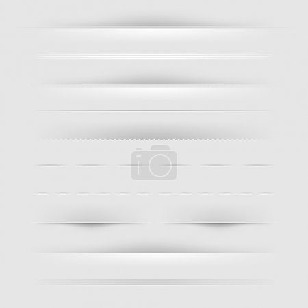 Illustration for Set Of Dividers, Isolated On Grey Background, Vector Illustration - Royalty Free Image