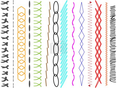Set of horizontal thread stitches