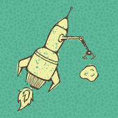 Flying rocket on the grunge background with seamless bubbles backdrop vector illustration