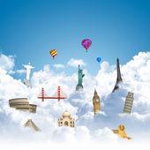 Traveling the world dream landmark concept