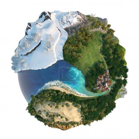 Photo pour Isolé monde conceptuel avec la diversité des paysages naturels et environnements voir mes autres concepts de mini-mot - image libre de droit
