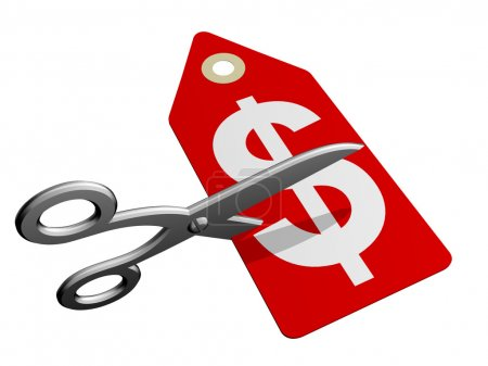 Photo for A pair of scissors cutting through a price tag - Royalty Free Image