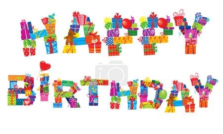 Illustration pour Joyeux anniversaire, les lettres sont faites de différentes boîtes-cadeaux et cadeaux - image libre de droit