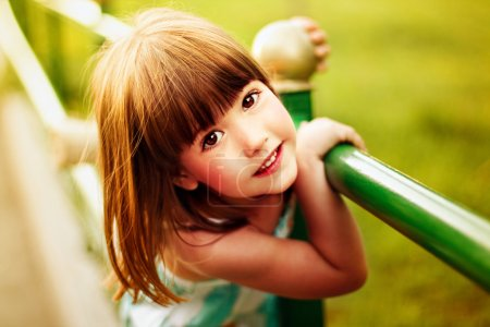 Photo for Portrait of a little smiling girl. Summertime - Royalty Free Image