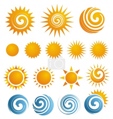 Illustration for Collection of isolated Sun icons and design elements - Royalty Free Image