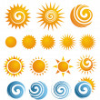 Collection of isolated Sun icons and design elemen...