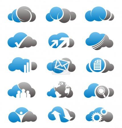Illustration pour Collection de logos de nuage, des icônes et des éléments de conception - image libre de droit