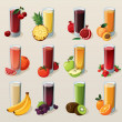 Set of tasty fresh squeezed juices....