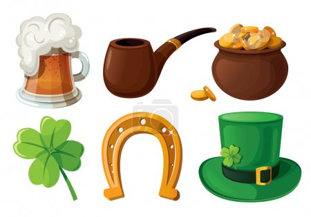 Set of St. Patrick's Day icons. Isolated on white background.