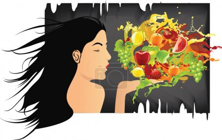Illustration for Girl Blowing various fruits and splashes - Royalty Free Image