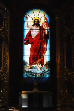 Saint Isaac's Cathedral in St Petersburg, Russia. Stained-glass window
