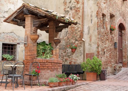 Decorated with plants and flowers on italian stree...