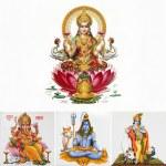 Composition with hindu gods ( Lakshmi,Ganesha, Shi...