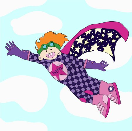 Illustration for The cheerful super hero flies to the aid. - Royalty Free Image