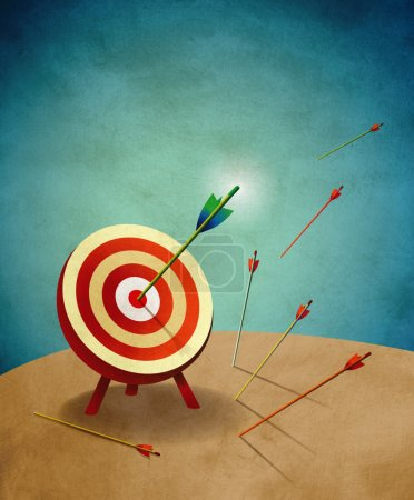 Photo for Archery field target with one big arrow hitting a bull's eye and other smaller arrows missing the target completely. Original illustration by myself. Competition and aiming for success concept. - Royalty Free Image