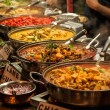 Oriental food - Indian takeaway at a London's mark...