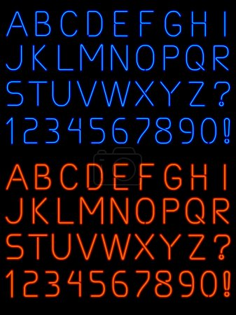 Letters and numbers rendered in fat and thin neon ...