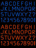 Letters and numbers rendered in fat and thin neon light tubes