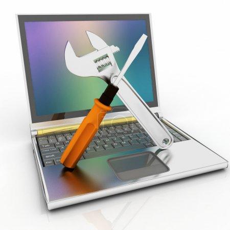 Photo pour Illustration 3D de portable avec tournevis et clé - image libre de droit