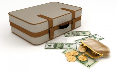 Suitcase and open purse with money on white...