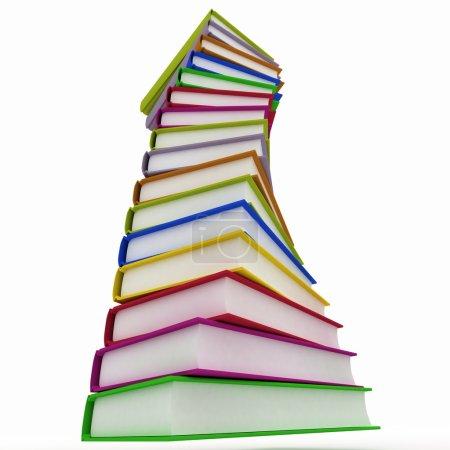 Bücherstapel isoliert auf weißem Hintergrund