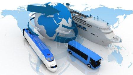 Photo pour Navire de ligne, bus et train sur une carte du monde. types de transport pour une croisière - image libre de droit