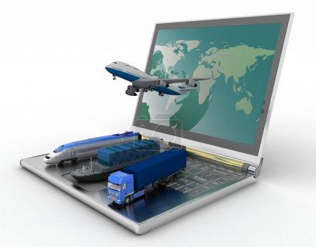 Photo pour Concept de logistique. livraison et transport de tous types de transports - image libre de droit