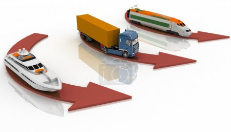 Photo for Types of transport on a white background - Royalty Free Image