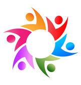 Teamwork business around circle logo vector