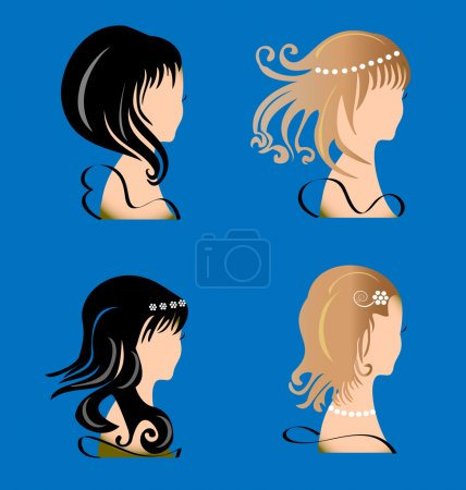 Illustration for Set of women with beauty hair - Royalty Free Image