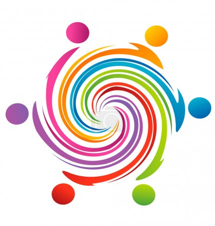 Teamwork swirl rainbow logo vector