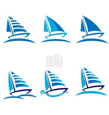 Set of boats vector logo design