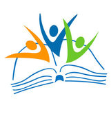 Open book and students figures logo
