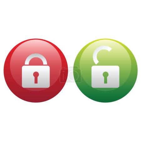 Vector lock - unlock illustration icons