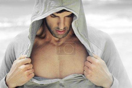 Open shirt man