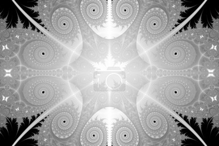 Photo pour Un art de fractale motif abstrait noir et blanc avec des motifs répétés, style vintage rétro en apparence. - image libre de droit