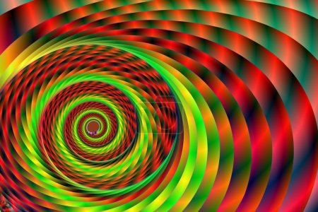 Photo pour Une œuvre d'art de fractale en agitant constamment répété qui bobine en un point focal, donnant l'illusion de, une coquille ou un tunnel. rouges et verts clairs apparaissent recoupés par des teintes plus sombres de couleurs. utilisable comme un décor de fond ou de papier peint. - image libre de droit