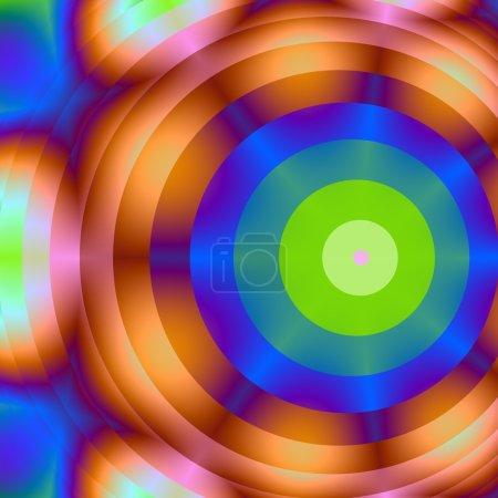 Photo pour Des Lumières brouillées en arrière-plan qui entoure les cercles extérieurs intérieurs, bruns et bleus verts concentriques. il forme une image de la planche cible. - image libre de droit