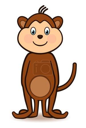 Photo pour Dessin animé personnage singe debout avec un grand sourire, les bras sur le côté et la queue levée haute. eps8. - image libre de droit
