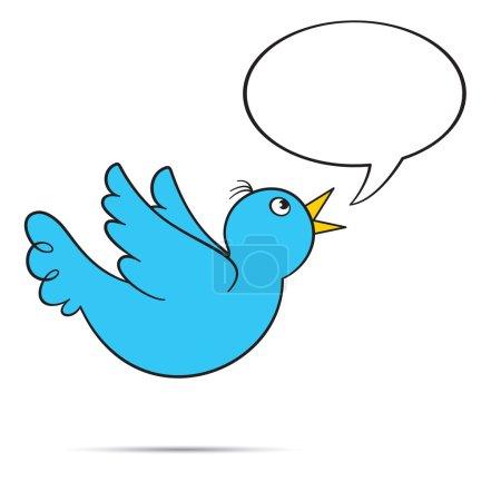 Photo pour Vol bluebird tweeting avec bulle vide pour votre texte. eps8. - image libre de droit