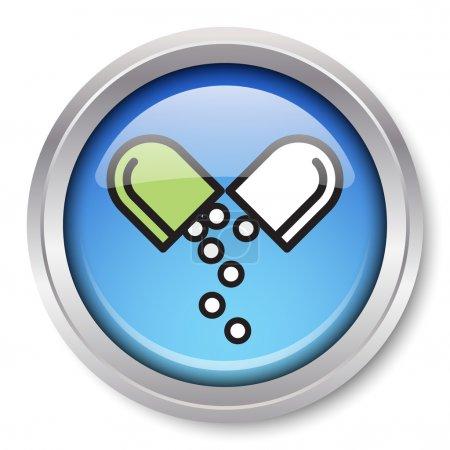 Photo pour Vecteur médicament icône glossy bouton métallique. EPS10. - image libre de droit