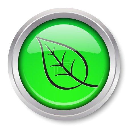Photo pour Vecteur feuille icône glossy bouton métallique. EPS10. - image libre de droit
