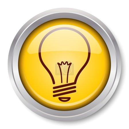 Photo pour Vecteur ampoule icône glossy bouton métallique. EPS10. - image libre de droit