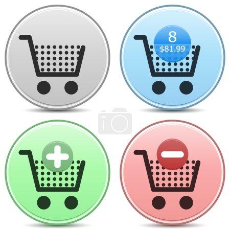 """Photo pour Vecteur shopping cart chariot icône mat touche réglée. inclut « panier vide », """"panier rempli"""", avec le nombre d'éléments et d'évaluation, """"ajouter au panier"""" et « supprimer du panier » icônes. EPS10. - image libre de droit"""