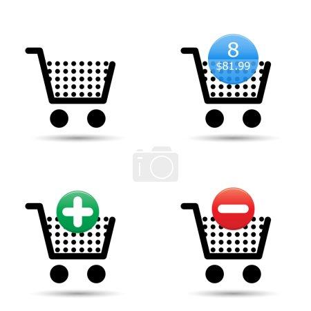 """Photo pour Shopping cart chariot icônes défini. inclut « panier vide », """"panier rempli"""", avec le nombre d'éléments et d'évaluation, """"ajouter au panier"""" et « supprimer du panier » icônes. EPS10. - image libre de droit"""