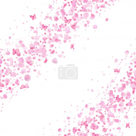 Photo for Repeatable breeze lines of studio photographed rose petals and buds in a back light, butterflies, bokeh particles in pink, isolated on white - Royalty Free Image