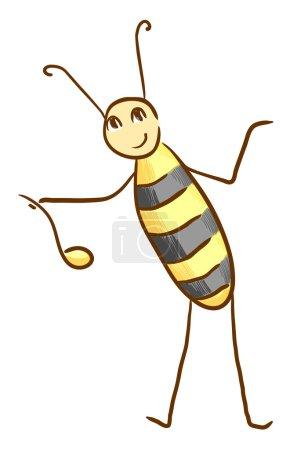Photo pour Amusant abeille colorée avec cuillère à miel. Illustration Eps 10 - image libre de droit