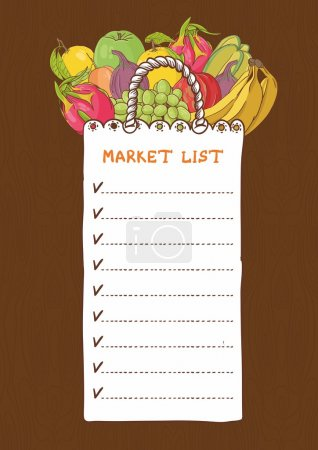 Shopping bags - list with fruits
