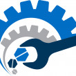 Illustration art of a power tool logo with isolate...